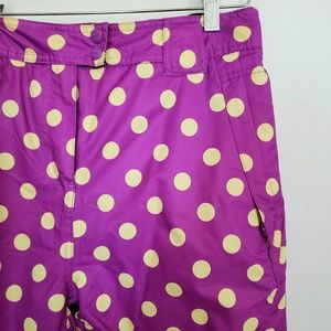 Girls snowboard pants purple yellow dots L